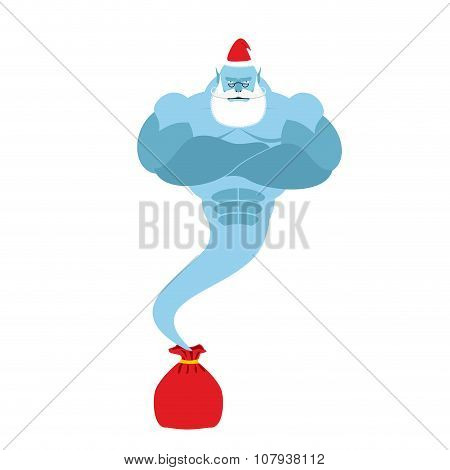 Genie Is Out Of  Bag Santa Claus. Magic Spirit With A Beard And Mustache. Christmas Clothes. Strong