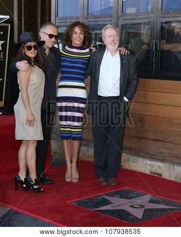 LOS ANGELES - NOV 05:  Salma Hayek, Francois-Henri Pinault, Giannina Facio, RIdley Scott at the Ridley Scott Hollywood WOF Star Ceremony at the Hollywood Blvd on November 05, 2015 in Los Angeles, CA