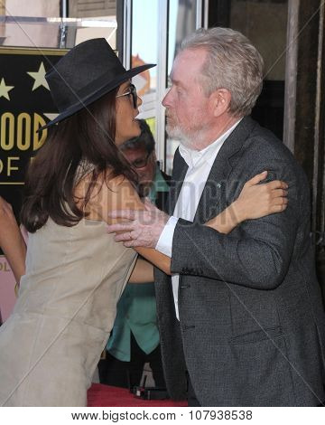 LOS ANGELES - NOV 05:  Salma Hayek, RIdley Scott at the Ridley Scott Hollywood Walk of Fame Star Ceremony at the Hollywood Blvd on November 05, 2015 in Los Angeles, CA