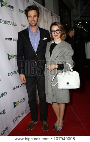 LOS ANGELES - NOV 11:  David Walton, Majandra Delfino at the
