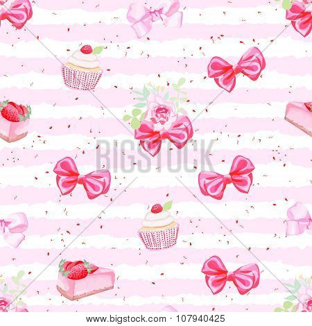 Romantic Fresh Pastries And Bows Seamless Vector Pattern