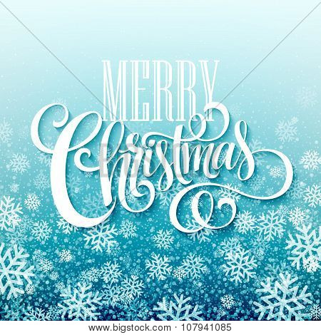 Merry Christmas handwritten text on blue background with snowflakes. Vector illustration