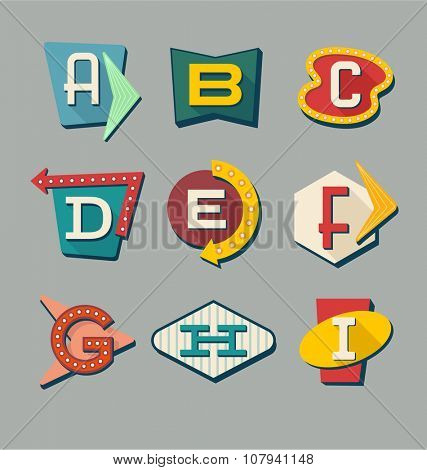 Retro signs alphabet. Letters on vintage style signs.