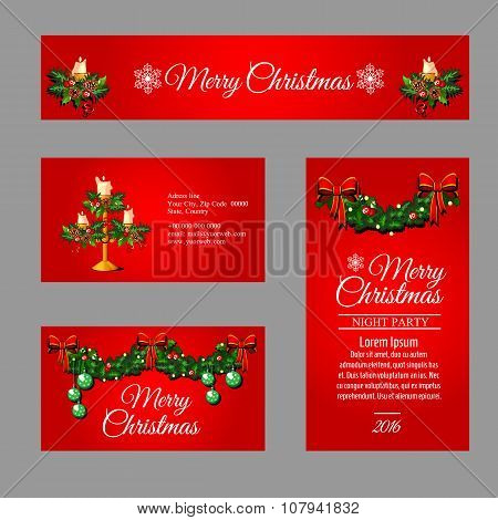 Set of Christmas red cards different sizes and shapes