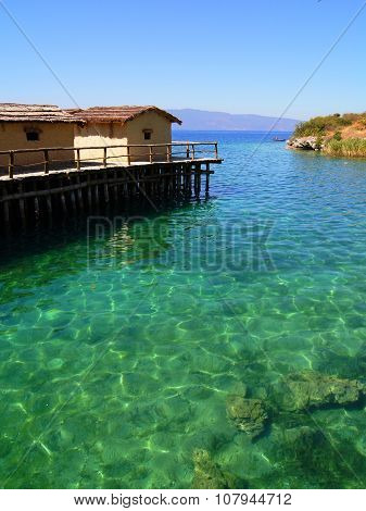 Turquoise water of the Lake Ohrid, Macedonia. Photo taken in the 'Bay of Bones'.