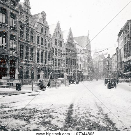 Antwerp At Winter Snowstorm