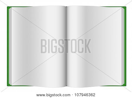 Green opened hardcover book isolated on white background.