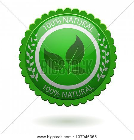 100% natural green label isolated on white background.