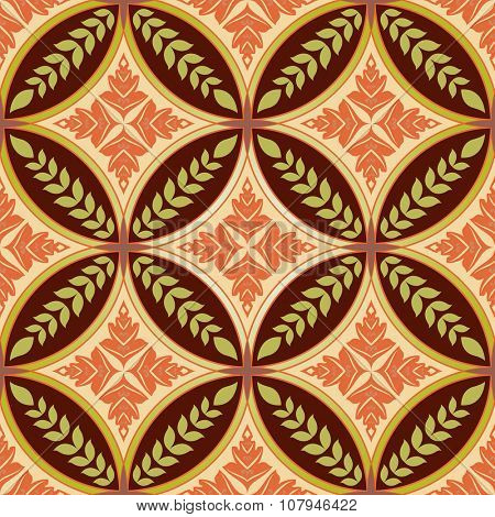 Seamless diamond and circle shapes floral pattern.