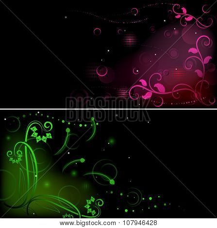 Dark flower graphics banners with copy space.