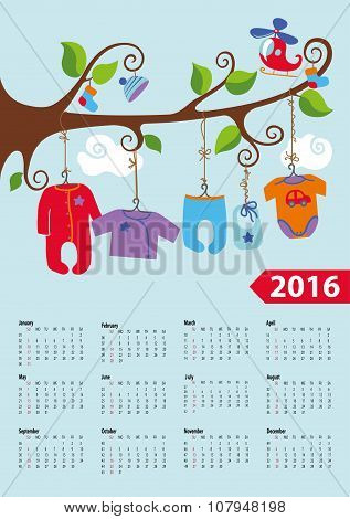 American calendar 2016 year.Baby boy fashion