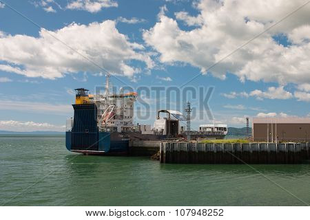Empty Container Ship In Malbaie Harbor, Canada.