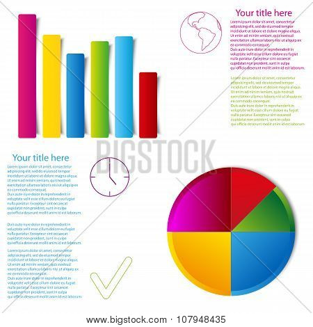 set of graph statistic info graphic flat style