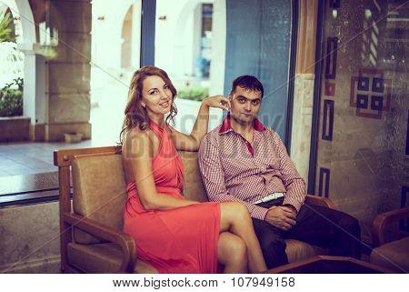 posing enamored couple