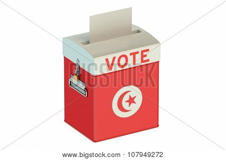 Ballot Box With Flag Of Tunis