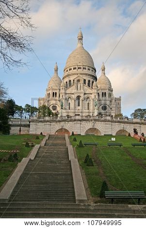 Paris, France - November 27, 2009: Stairs To Basilica Of The Sacred Heart Of Paris (sacre-coeur) Tha