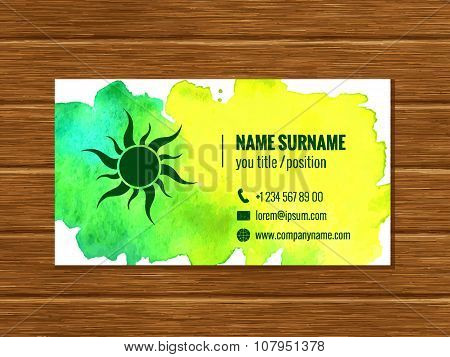 Business card template with watercolor background. Corporate identity. Colorful watercolor texture m