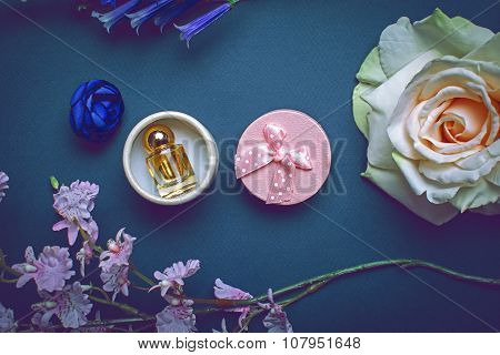 Tender Composition Of Perfume And Flower