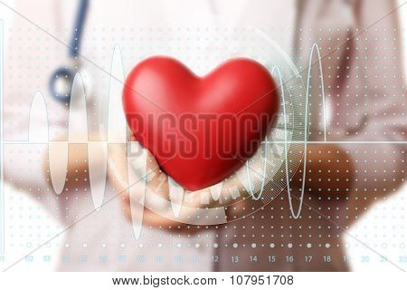 Healthcare and medicine concept. Doctor hands with heart and stethoscope