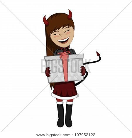 Christmas Devil Girl With Surprise