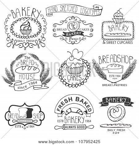 Vintage Bakery Labels.Outline hand sketched