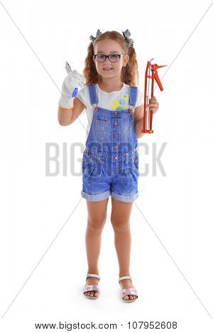 Happy girl with building equipment isolated on white background