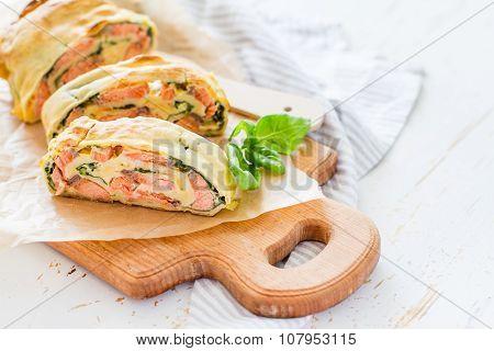 Salmon and spinach strudel