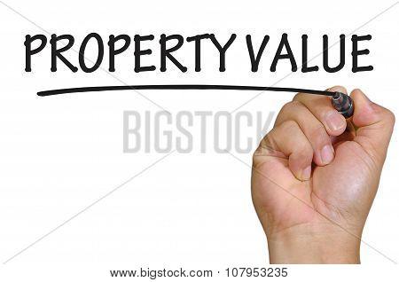 Hand Writing Property Value Over Plain White Background