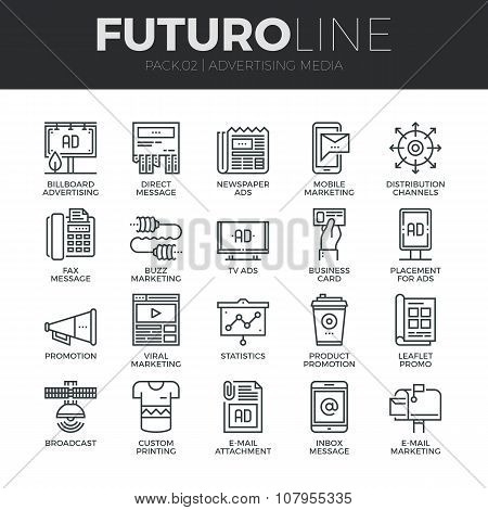 Advertising Media Futuro Line Icons Set