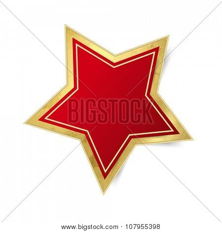 Single red star - Christmas decoration isolated