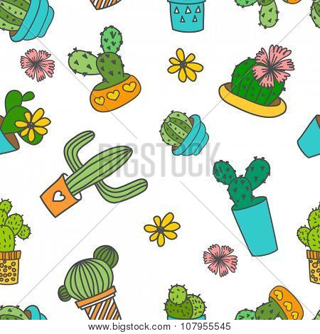 Vector seamless pattern. Cute doodle cactus and flowers in a pots.