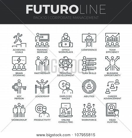 Corporate Management Futuro Line Icons Set