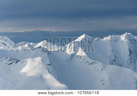 Norwegian alpine mountains in winter