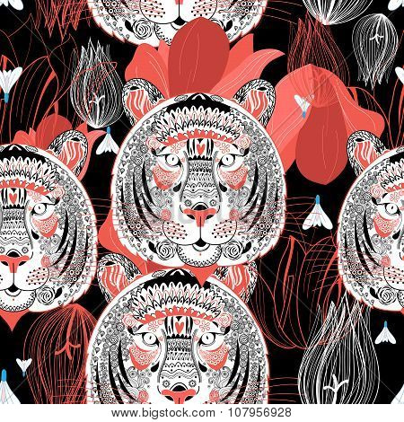 Pattern Ornamental Graphic Portraits Of Tigers