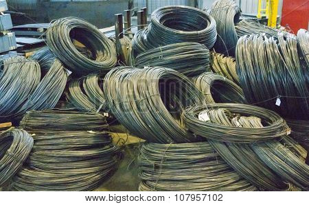 Coils Of Steel Wires In Factory Warehouse
