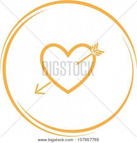 heart and arrow. Internet button. Vector icon.
