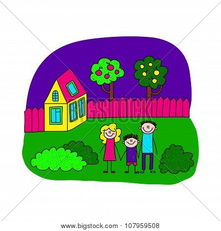 Image Of Happy Family With House