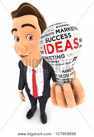 3d businessman light bulb