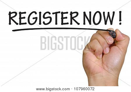 Hand Writing Register Now Over Plain White Background