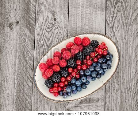 Assortment Of Berries On An Oval Plate