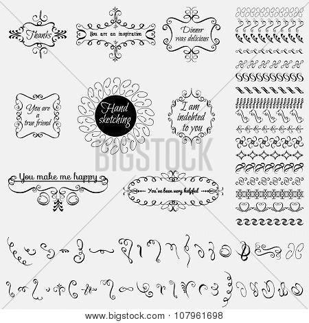 Collection of hand-drawn elements