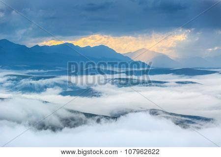 The Caucasus mountains in the evening