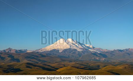 Elbrus; caucasus; mount; mountains; nothern; russia; europe; eastern; high; highest; morning; day; light; nature; landscape; snow; summer,panorama