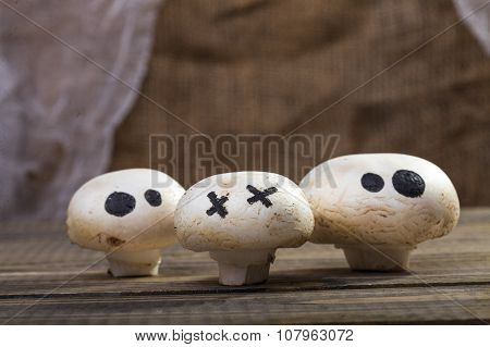 Halloween Mushrooms With Ghost Face