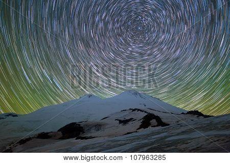 Star trails over Mount Elbrus