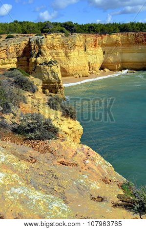 Spectacular rock formations on Benagil Beach on the Algarve coast
