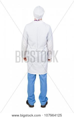 Back view of doctor in robe. Standing young guy. Rear view people collection.  backside view of person.  Isolated over white background. The nurse in a dressing gown standing and looking up.