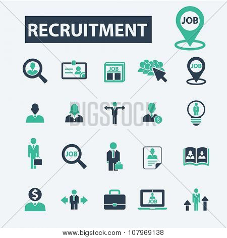 recruitment, hr, career, job  icons, signs vector concept set for infographics, mobile, website, application