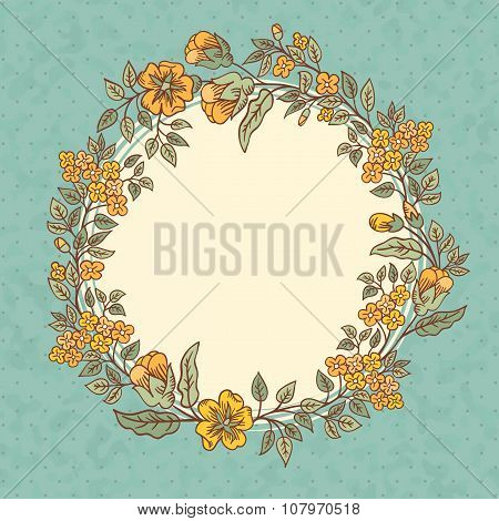 Vector Vintage Greeting Card With A Doodle Flowers Bouquet And Frame For Text On Retro Dirty Backgro