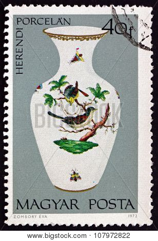Postage Stamp Hungary 1972 Vase With Bird